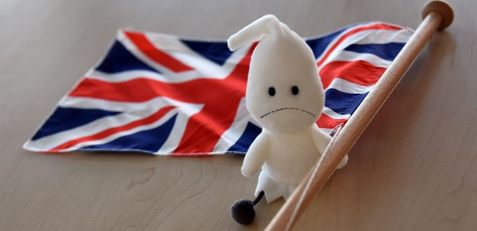 Brexit-Gespenst: Geist vor Union Jack Flagge Großbritannien